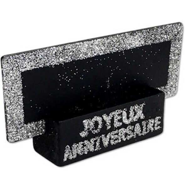 Porte nom ardoise argent paillete et noir joyeux anniversaire