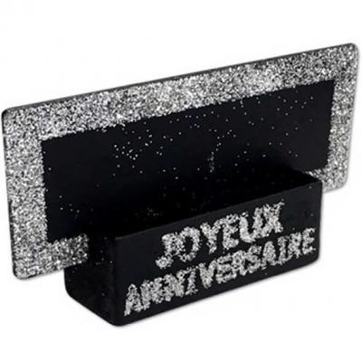 Marque-place argent joyeux anniversaire (x2) REF/MPP00