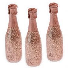 Porte-nom bouteille de champagne rose gold pailleté (x3) REF/DEC852