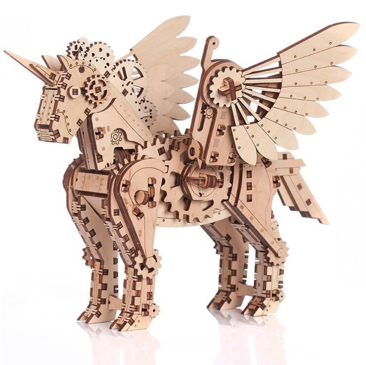 Puzzle 3d en bois licorne en petit modele et mobile