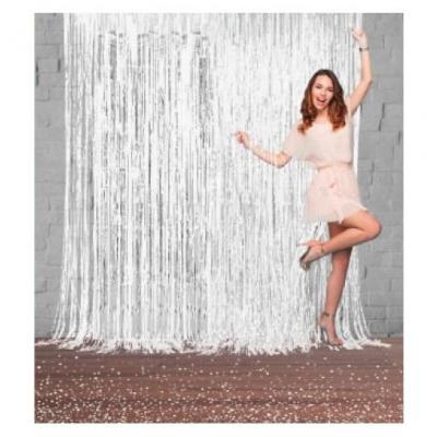 Rideau de porte blanc métallique avec franges 2m x 1m (x1) REF/RFMBA