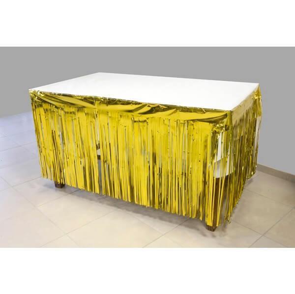 Rideau de porte et jupon de table avec frange dore or
