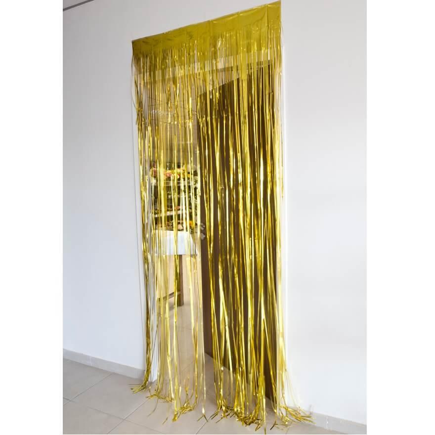 Rideau de porte or avec franges