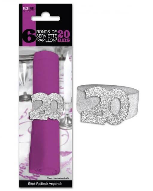 Rond de serviette anniversaire argent 20ans