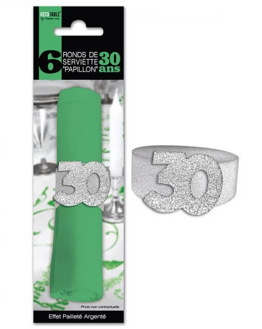 Rond de serviette anniversaire argent 30ans