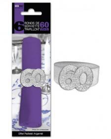 Rond de serviette anniversaire argent 60ans (x6) REF/RSP06A