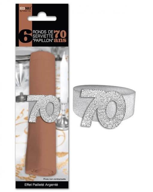 Rond de serviette anniversaire argent 70ans
