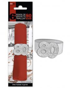 Rond de serviette anniversaire argent 80ans (x6) REF/RSP08A