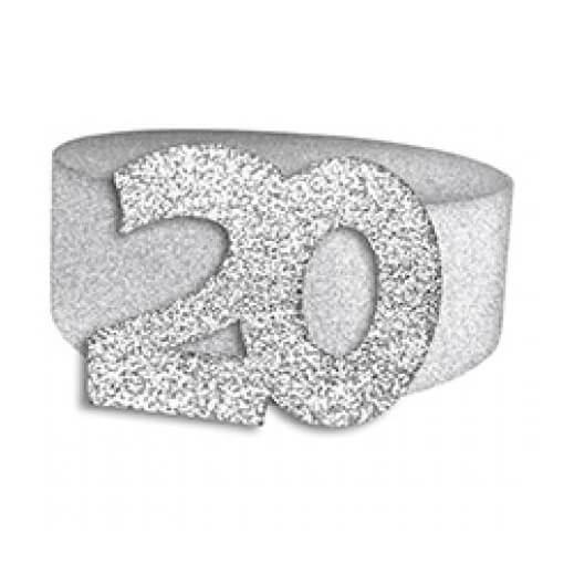 Rond de serviette elegant 20ans fete anniversaire argent