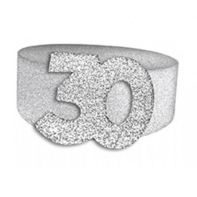 Rond de serviette anniversaire argent 30ans (x6) REF/RSP03A