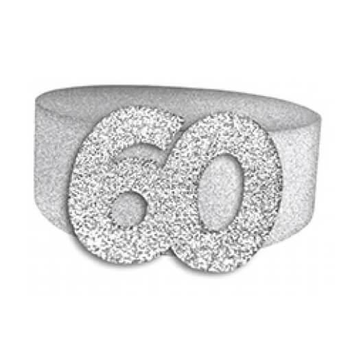 Rond de serviette elegant 60ans fete anniversaire argent