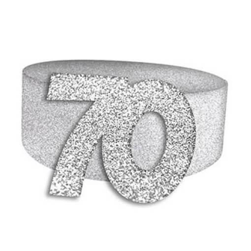 Rond de serviette elegant 70ans fete anniversaire argent