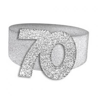 Rond de serviette anniversaire argent 70ans (x6) REF/RSP07A