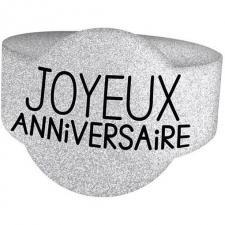 Rond de serviette joyeux anniversaire argent (x6) REF/RSP00A
