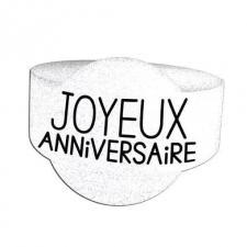 Rond de serviette joyeux anniversaire blanc Albâtre (x6) REF/RSP00BA