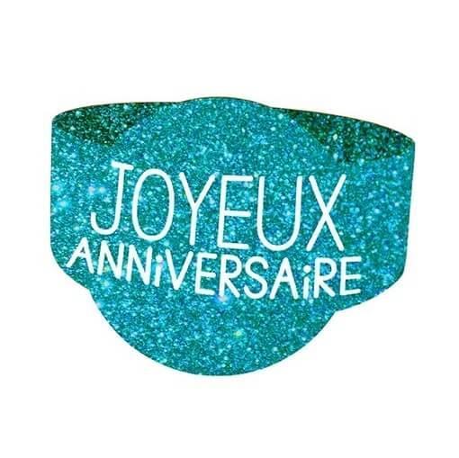 Rond de serviette elegant anniversaire bleu paillete