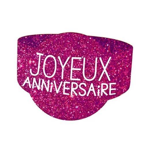 Rond de serviette elegant anniversaire rose fuchsia paillete