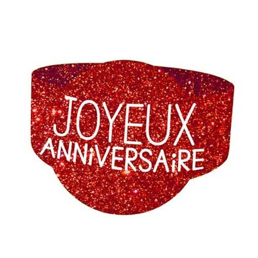Rond de serviette elegant anniversaire rouge paillete