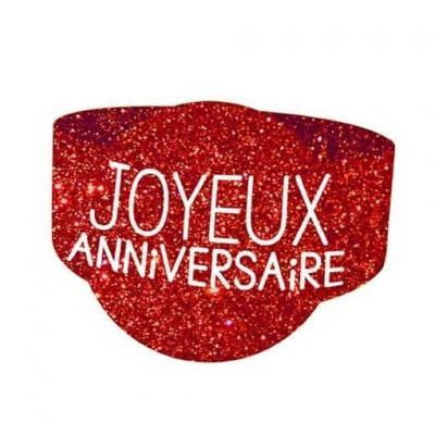 Rond de serviette joyeux anniversaire rouge (x6) REF/RSP00R