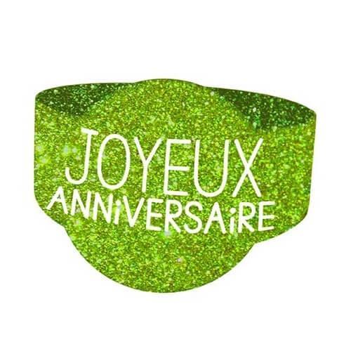 Rond de serviette elegant anniversaire vert paillete