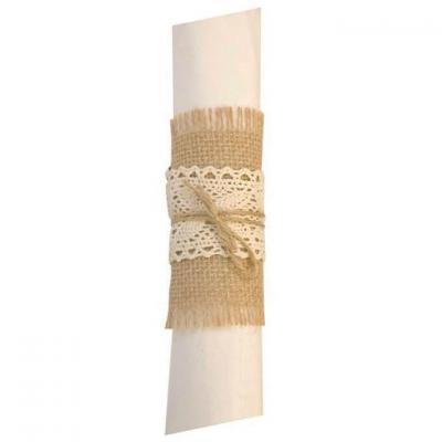 Rond de serviette Champêtre en jute et dentelle avec sa ficelle (x4) REF/DEK0517
