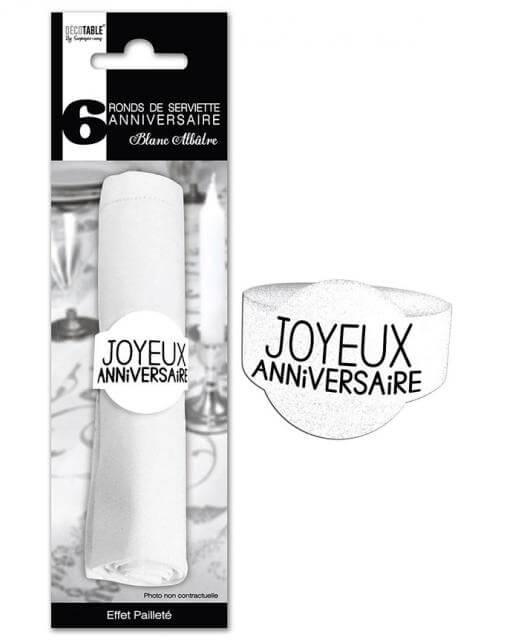 Rond de serviette joyeux anniversaire blanc