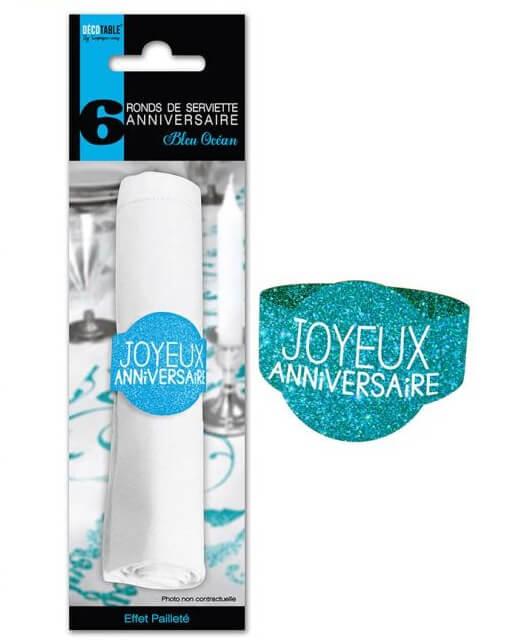 Rond de serviette joyeux anniversaire bleu ocean