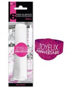 Rond de serviette joyeux anniversaire fuchsia (x6) REF/RSP00F
