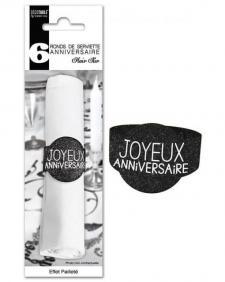 Rond de serviette joyeux anniversaire noir (x6) REF/RSP00N