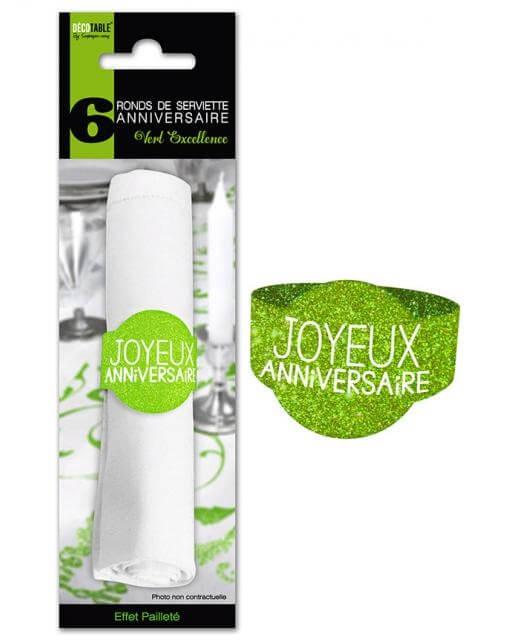 Rond de serviette joyeux anniversaire vert