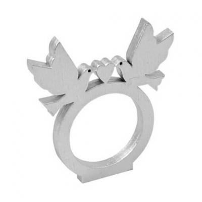 Rond de serviette mariage Colombes argent en bois (x2) REF/DEK0285