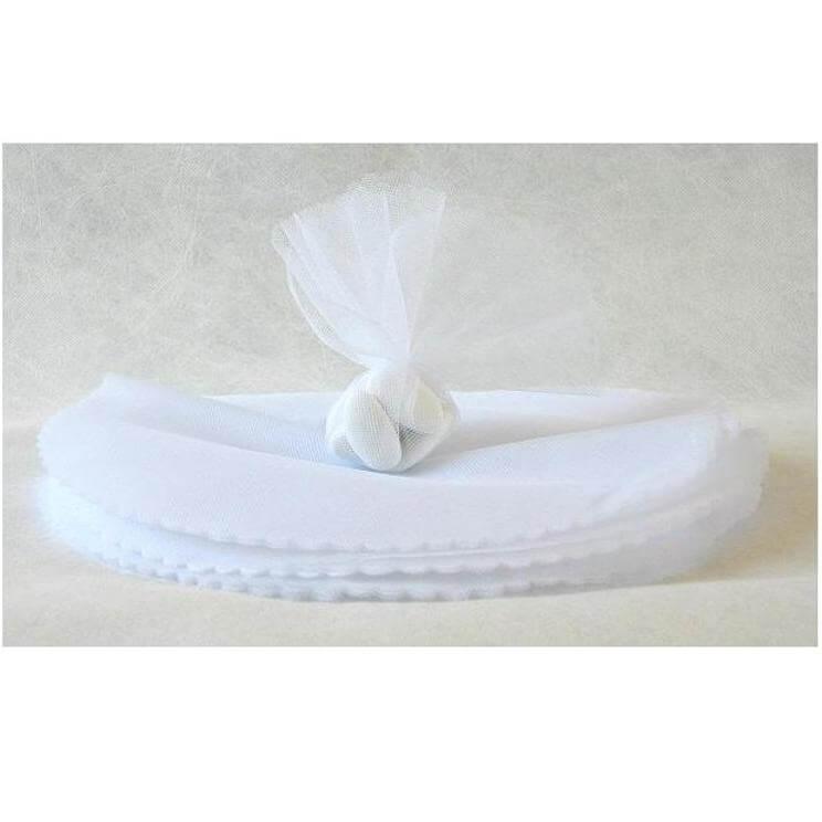 Rond tulle festonne blanc pour confection de dragees