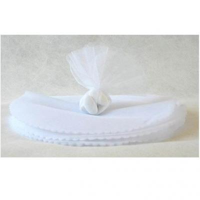 Rond tulle festonné blanc pour confection dragées 24cm (x25) REF/RDU114
