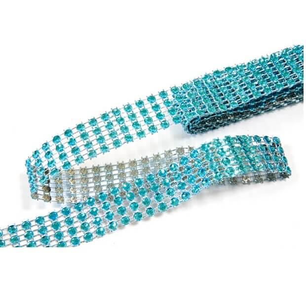 Ruban diamant strass bleu turquoise