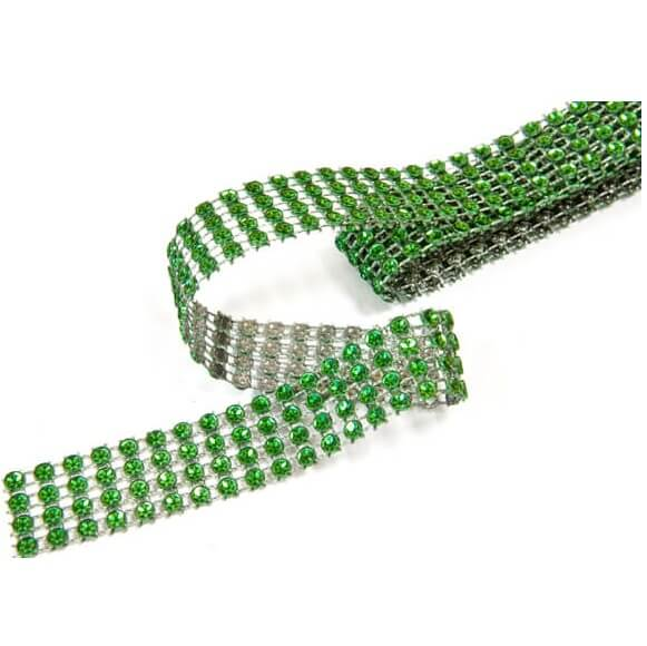 Ruban diamant strass vert fonce