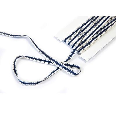 Bobine ruban décoratif bleu marine et blanc 7mm x 5m (x1) REF/RU381
