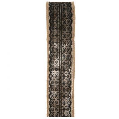 Ruban jute avec dentelle noir 50mm x 2m (x1) REF/5089
