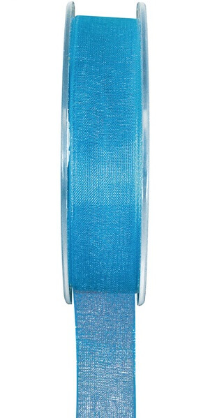 Ruban organdi bleu turquoise 7mm