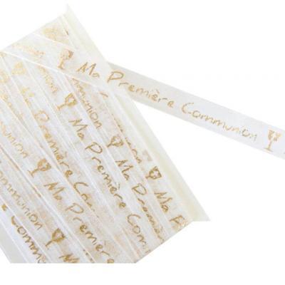 Ruban organdi communion blanc et or 10mm x 5m (x1) REF/RU356