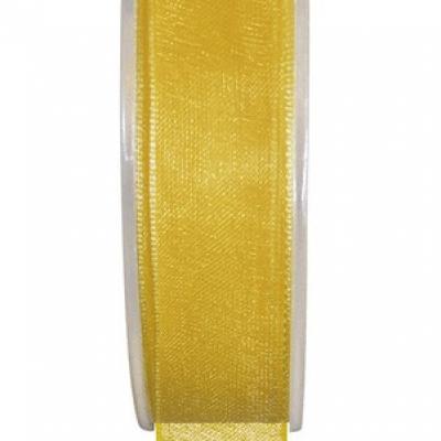 Ruban organdi 25mm jaune (x1) REF/2558