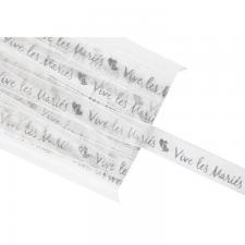 Ruban organdi mariage blanc et argent 10mm x 5m (x1) REF/RU350