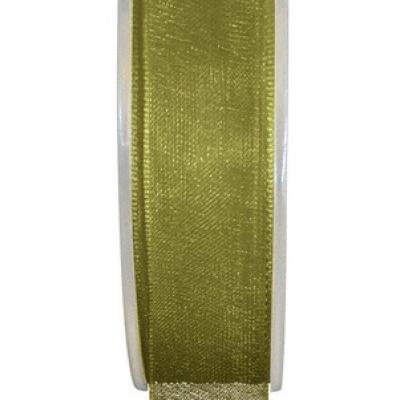 Ruban organdi 7mm vert olive (x1) REF/2558