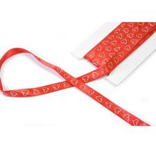 Ruban satin mariage rouge avec coeurs 1cm (x4m) REF/RU382