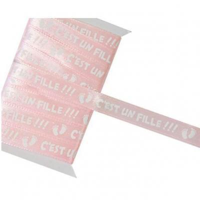 Ruban satin rose c'est une fille 10mm x 5m (x1) REF/RU386