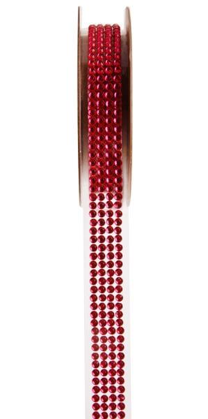 Ruban strass autocollant rouge