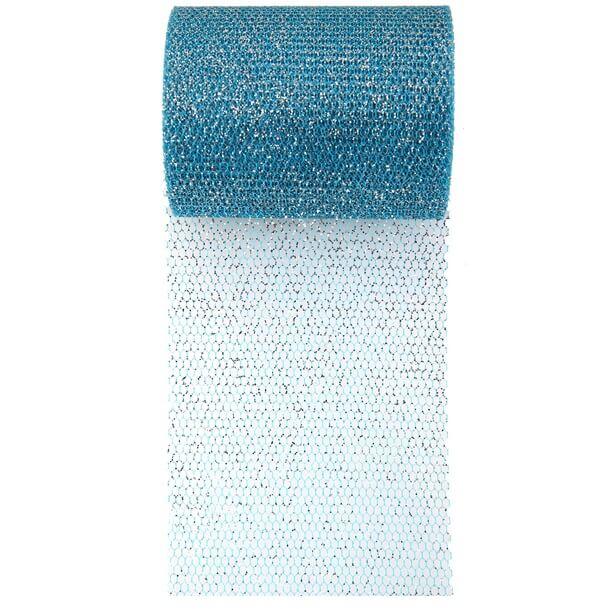 Ruban tulle bleu turquoise paillette
