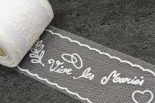 Ruban tulle mariage vive les mariés: Blanc (x10m) REF/RL316