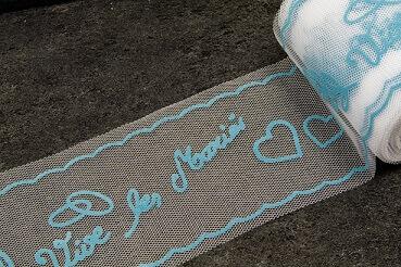 Ruban tulle mariage vive les maries bleu turquoise