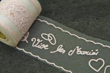 Ruban tulle mariage vive les mariés: Rose (x10m) REF/RL316