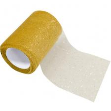 Bobine ruban tulle pailleté or 8cm x 10m (x1) REF/RL295